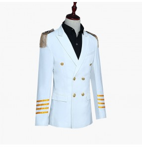 Men's stage performance jazz dance blazers host singers drama cosplay military drama cosplay long coats